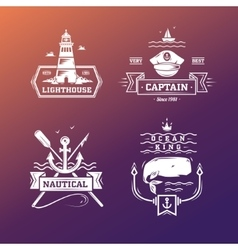 set vintage nautical labels and signs vector image