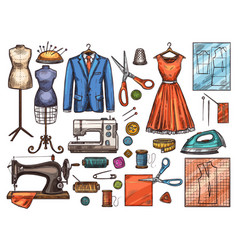 sewing tool and tailor equipment sketch design vector image