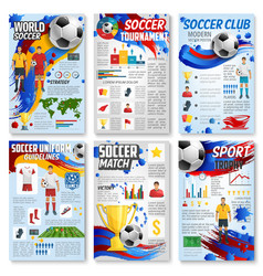soccer sport game infographic with football match vector image