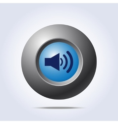 Speaker volume icon on blue button vector image