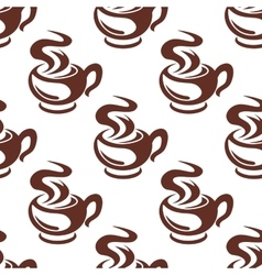 Steaming coffee cups retro seamless pattern vector