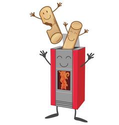 stove cartoon mascot with wood pellets mascot vector image