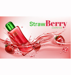 Strawberry cosmetics bottle floating in water vector