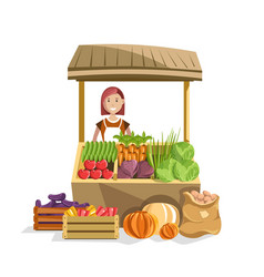street wooden counter with fresh organic vector image