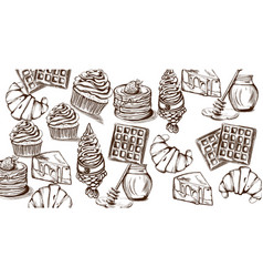sweets pattern line art style ice cream croissant vector image
