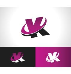 Swoosh alphabet icon k vector