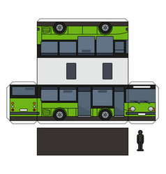 The paper model of a green small bus vector
