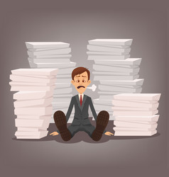 tired unhappy office worker man character vector image