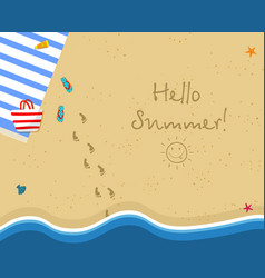top view of sunny beach summertime background vector image