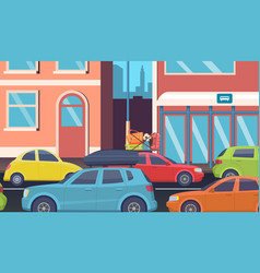 traffic jam in downtown morning road problems vector image