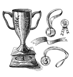 Trophy sketch set vector