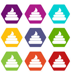 turd icon set color hexahedron vector image