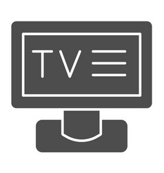 tv solid icon television vector image