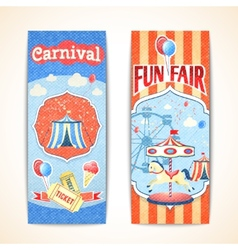 Vintage carnival banners vertical vector image