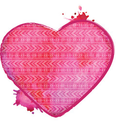 Watercolor heart valentines art vector