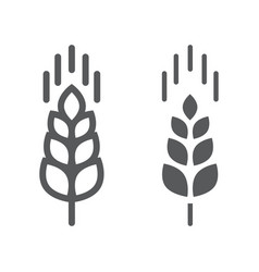 wheat ear line and glyph icon farming vector image