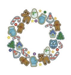 Winter holidays icons collection vector image