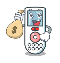 With money bag remote control character cartoon vector