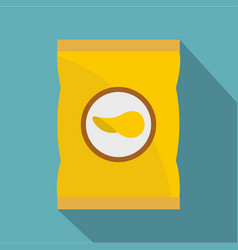 yellow pouch of potato chips icon flat style vector image