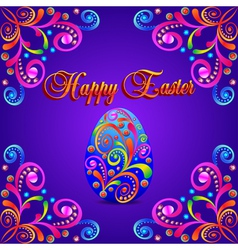 card for Easter eggs with ornament and precious vector image vector image