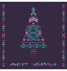 Christmas Tree - Tribal Vintage Aztec Theme vector image vector image