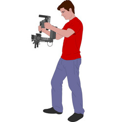 videographer with handheld steadycam vector image vector image