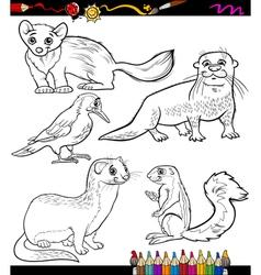 animals set cartoon coloring book vector image vector image