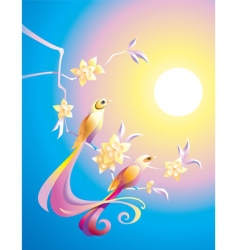 birds in the morning vector image