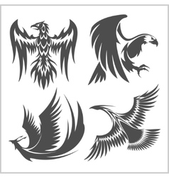 Flying eagle peacock and pheasant logo vector image vector image