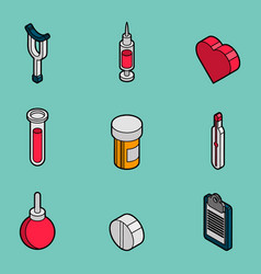 medical flat outline isometric set vector image vector image