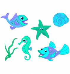under the sea fishy characters vector image vector image
