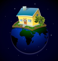 Planet with house and garden at night vector image