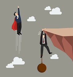 Businessman superhero fly pass businessman hold on vector image