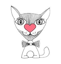 cat love sketch vector image