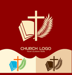 cross of jesus open bible and palm branch vector image vector image