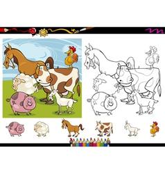 farm animals cartoon coloring page set vector image vector image