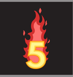 flaming number five vector image