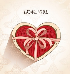 Love greeting card with heart pillow in box vector image vector image