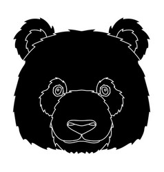 panda icon in black style isolated on white vector image vector image