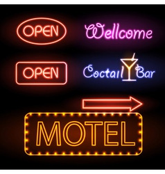 Set of neon sign vector image