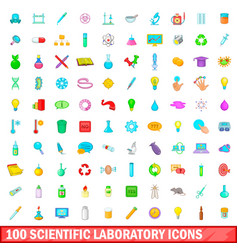 100 scientific laboratory icons set cartoon style vector image
