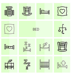 14 bed icons vector