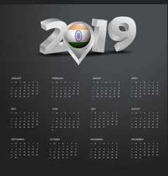 2019 calendar template grey typography with india vector