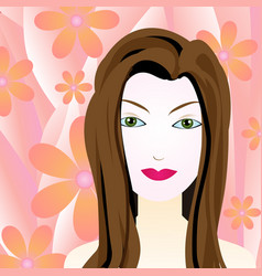 a woman with a flower background vector image