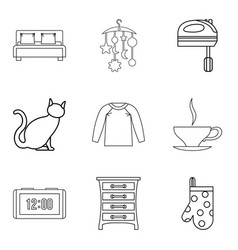 Abode icons set outline style vector
