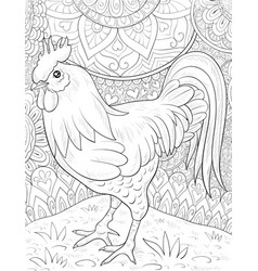 adult coloring bookpage a cute rooster on the vector