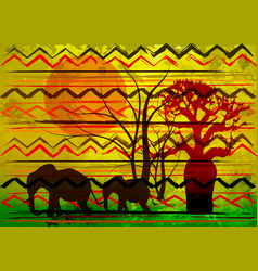 African print fabric ethnic savannah safari batik vector