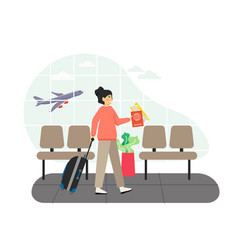 airport waiting hall girl passenger with luggage vector image