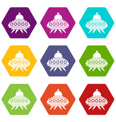 alien spaceship icon set color hexahedron vector image