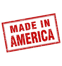 America red square grunge made in stamp vector